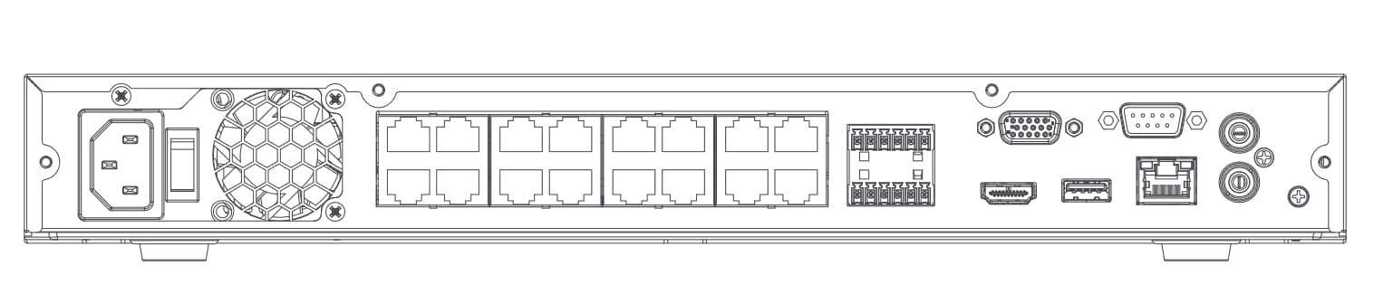 DH-NVR4212-16P-4KS2 задняя панель