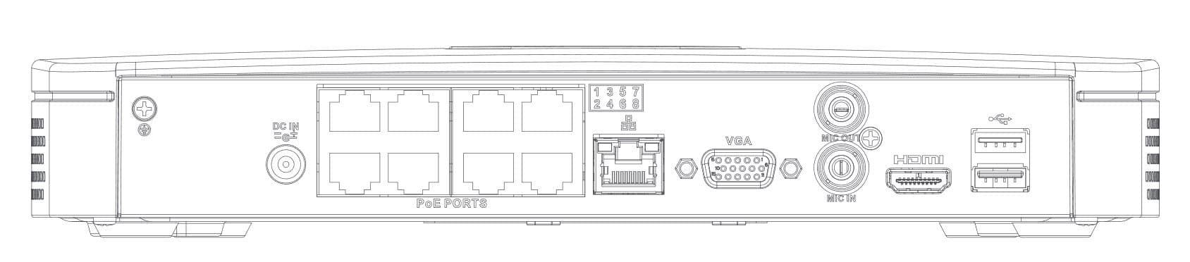 DH-NVR4108-8P-4KS2-задняя панель